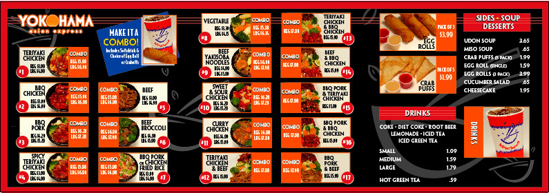 Yokohama Asian Express Drive Thru Menu