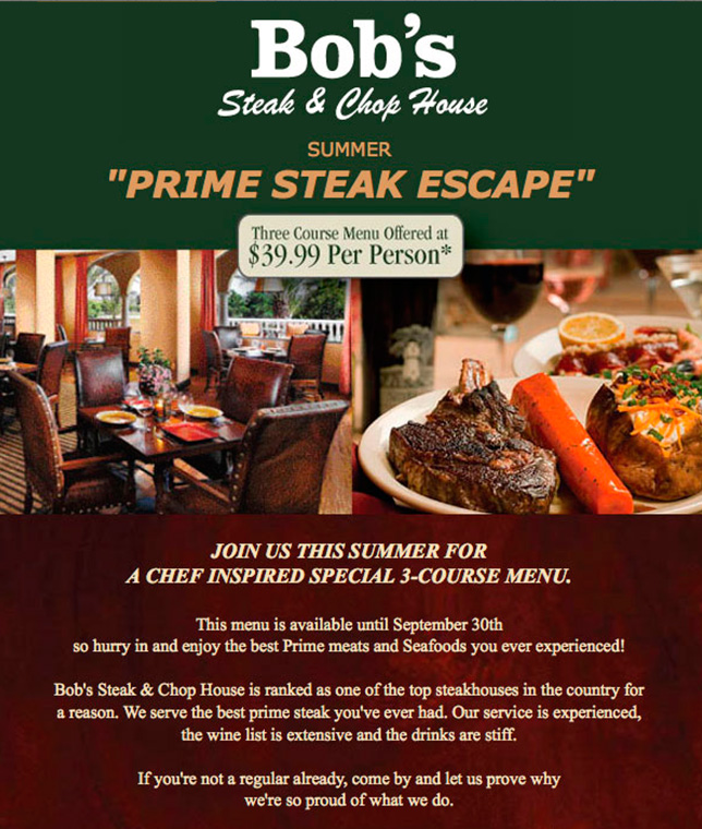 Bob's Prime Steak Escape