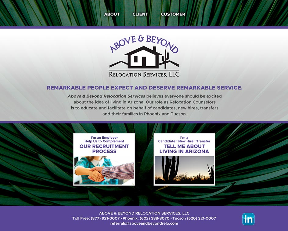 Above & Beyond Relocation Services Website