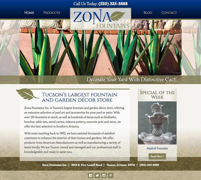Zona Fountains Website